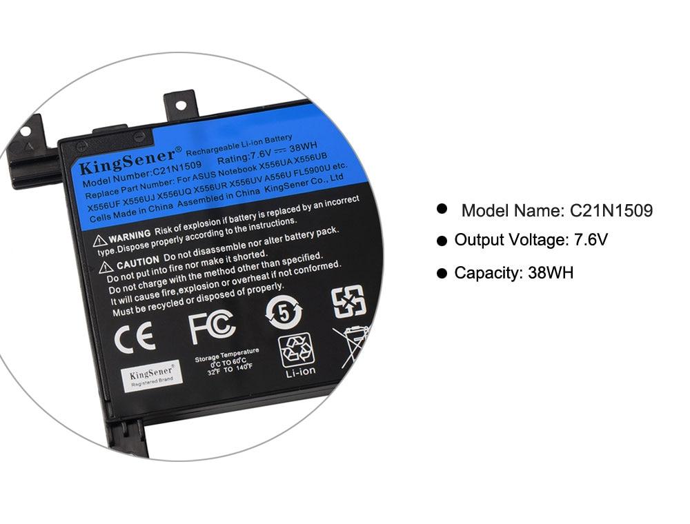 Купить с кэшбэком KingSener 7.6V 38WH C21N1509 Laptop Battery for ASUS X556U X556UA X556UB X556UF X556UJ X556UQ X556UV A556U F556UA K556UA K556UV