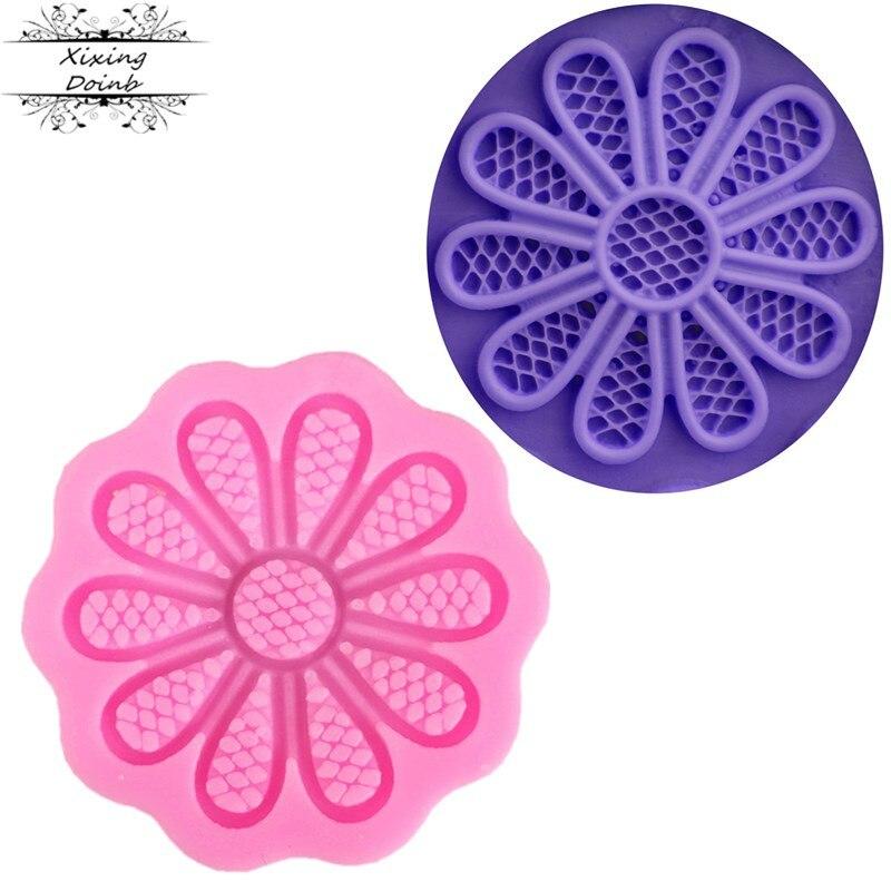 Flor en forma de azúcar encaje para manualidades taza de papel para pastel silicona gel molde suave azúcar molde pastel decoración herramienta pasta de chocolate molde