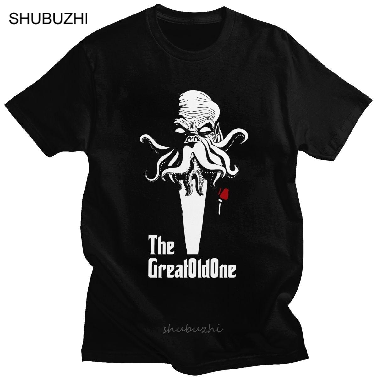 Parodia Cthulhu, camiseta para hombre, cuello redondo, Manga corta H.P. Camiseta de verano Lovecraft con pulpo, Camiseta de algodón suave de corte Regular, camisetas Merch