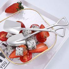 1Pc cuillère créative métal crème glacée café cuillère pelle forme coquille thé cuillères après-midi thé Dessert longue poignée cuillère