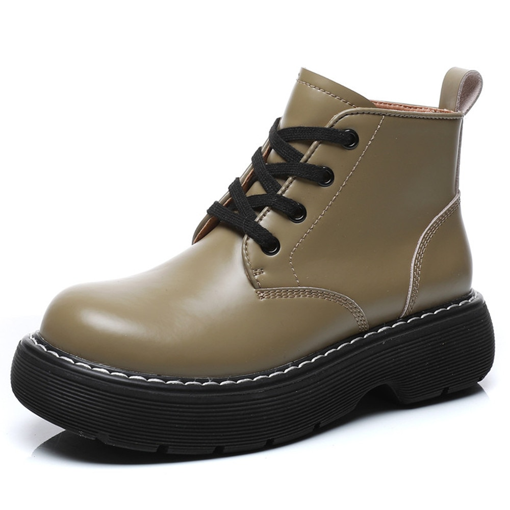 AIYUQI Women Martin Shoes Platform Spring 2021 New Fashion Big Toe Shoes Female Genuine Leather Lace Up Thick-soled Green Shoes