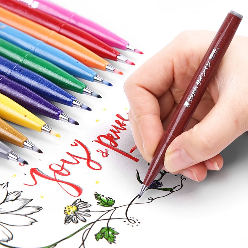 Japón Pentel toque cepillo pluma pincel de punta suave caligrafía de Color pluma de pluma Pennarelli bala suministros para diario caligrafía Dessin