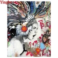 indians feather woman 5d picture of rhinestones mosaic full diamond embroidery with diamonds painting graffiti art diy diamond