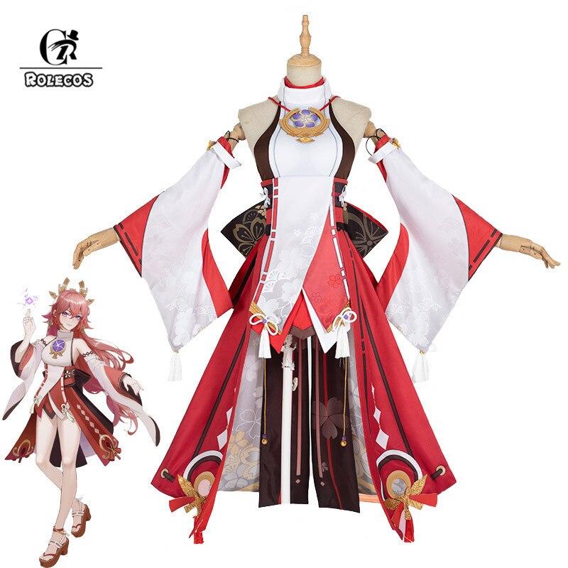ROLECOS لعبة جينشين تأثير ياي ميكو تأثيري حلي ياي جوجي تأثيري حلي مثير المرأة فستان هالوين قلادة مجموعة كاملة