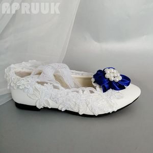 White lace flats shoes with blue flower ornament female ladies bridal plus size lace-up flats shoes girl party ceremony flats