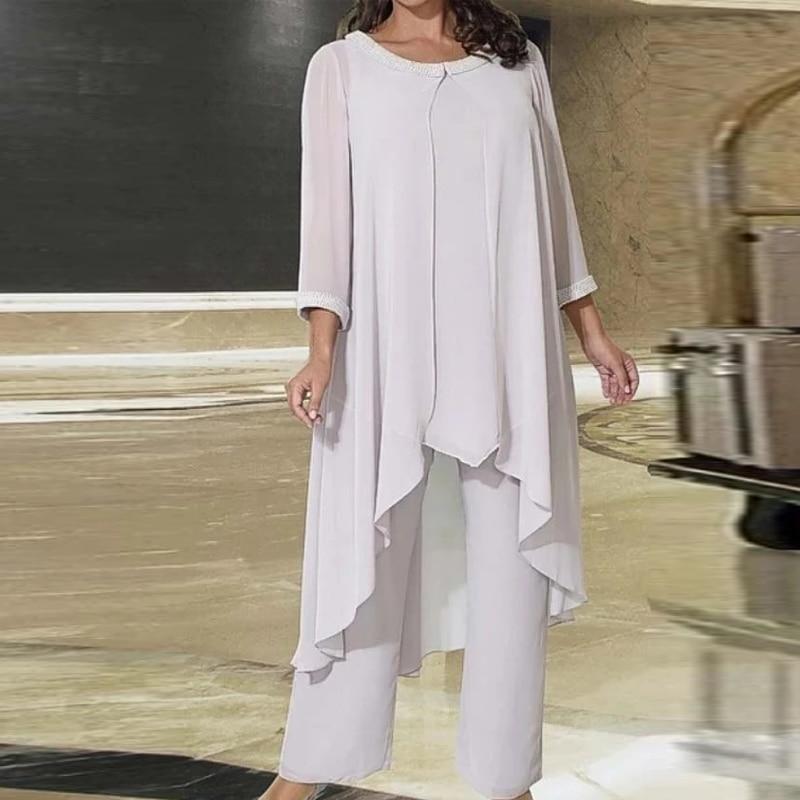 Chiffon Women's Pantsuit Mother Of The Bride Pantsuit Woman Wedding suit With Irregual Jacket Custom