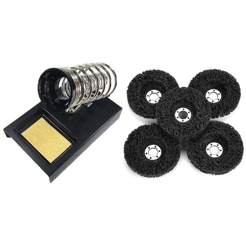 Suporte de Ferro de Solda Pces Removível Portátil 5 115mm Poli Tira Pintura Ferrugem Remoção Limpo Ângulo Moedor Discos 1 &