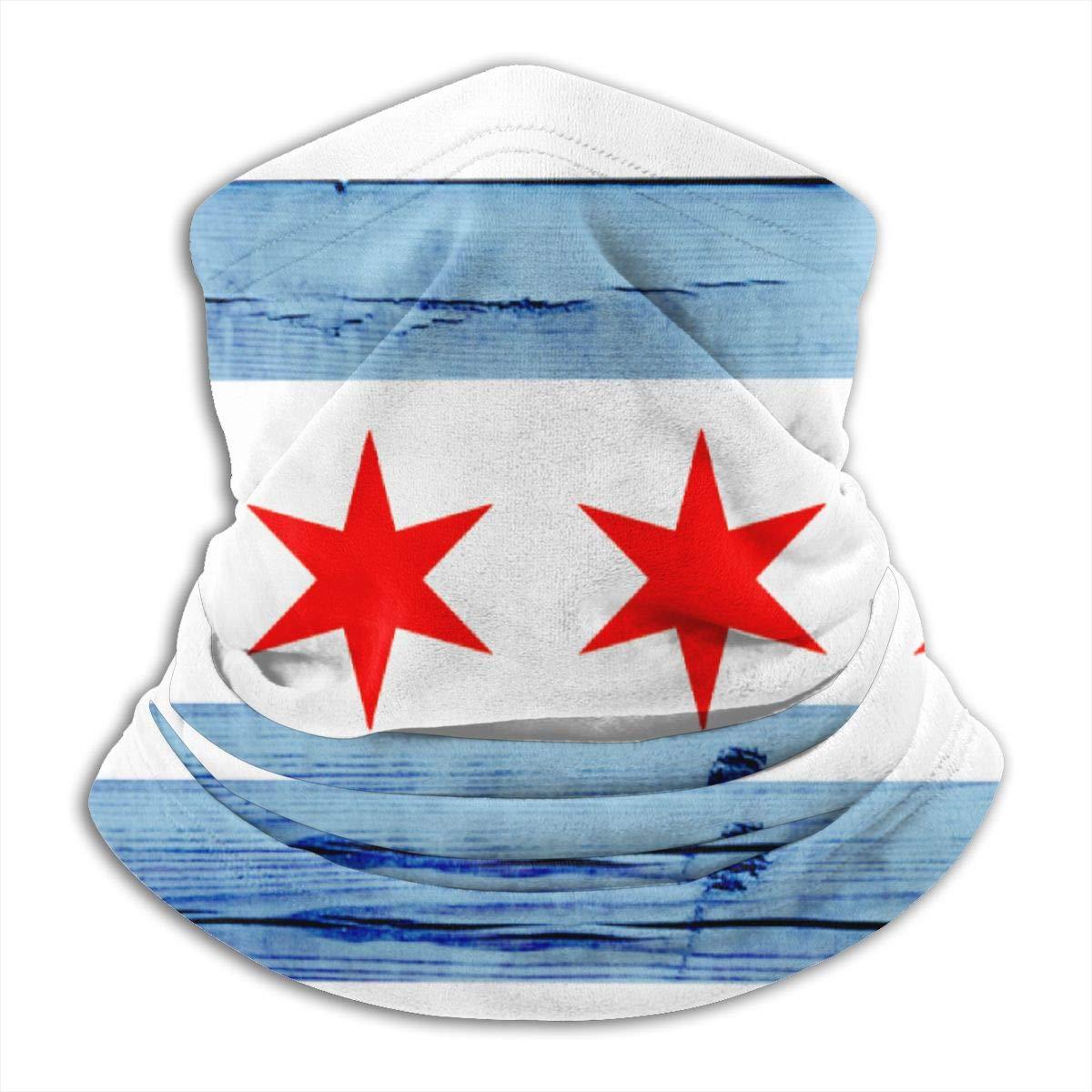 Bandera de Chicago textura de madera cuello polaina de esquí Balaclava máscara de clima frío cara máscara sombreros de invierno sombreros para hombres mujeres negro