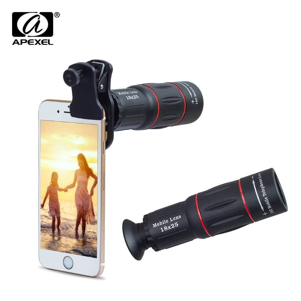 100pcs/set APEXEL 18X Telescope Zoom telescope Mobile Phone Lens for iPhone Xiaomi Smartphones APL-18XT