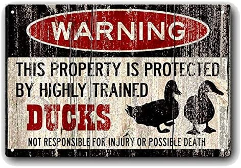 Funny Duck Sign Duck Warning The Duck cage Rules Vintage Style Metal Sign