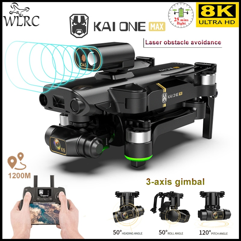 WLRC NEW KAI ONE PRO MAX 8K Drone GPS Professional HD Dual Camera 3-Axis Gimbal Brushless Motor RC Quadcopter 1.2km Toys for boy