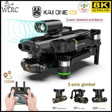 WLRC NEW KAI ONE PRO MAX 8K Drone GPS Professional HD Dual Camera 3-Axis Gimbal Brushless Motor RC Q