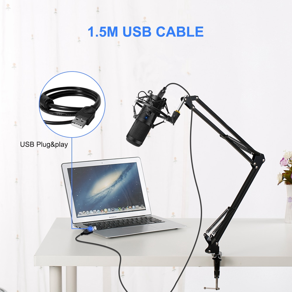 USB Microphone Condenser D80 Recording Microphone with Stand and Ring Light for PC Karaoke Streaming Podcasting for Youtube enlarge