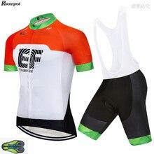 2020 équipe EF Orange Pro cyclisme Jersey bavoirs Shorts costume 20D Gel Ropa Ciclismo hommes été séchage rapide vélo Maillot porter