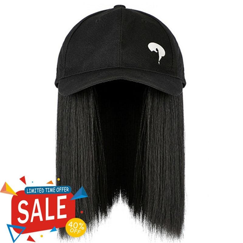 Shop Specials Question Mark Pattern Baseball Cap Clavicle Hair Hat Black Short Straight Hair Wig Hat Sun Hat
