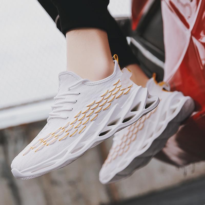 Zapatillas de correr para hombre transpirables y ligeras, Zapatillas para caminar y correr, antideslizantes, color blanco
