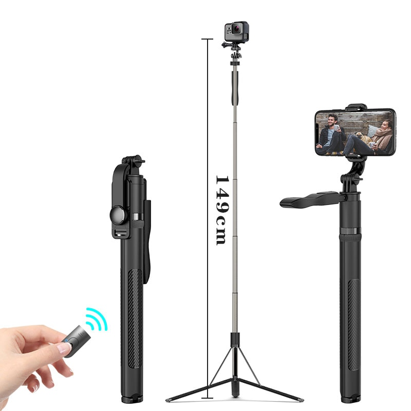 Roreta High quality New 1.49m big Bluetooth Selfie Stick Tripod Foldable monopods universal for Gopro camera for Smartphone