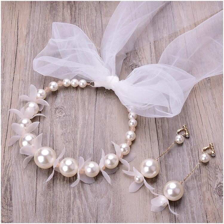 Branco noiva headdress delicadeza pérola vestido de casamento acessórios para o cabelo cabeça gótica envoltório meninas headbands conjunto