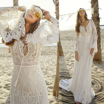 803#2021 New Design Long Lantern Sleeve Empire V-Neck Backless Small Train Beauty Backless Lace Boho Beach Wedding Dresses Women