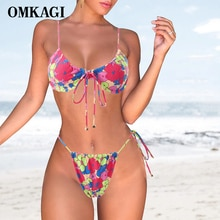 OMKAGI Bikini Set Pink Women's Swimsuit Srting Bathing Suit Sexy Thong Push Up Micro 2021 Printed Fl