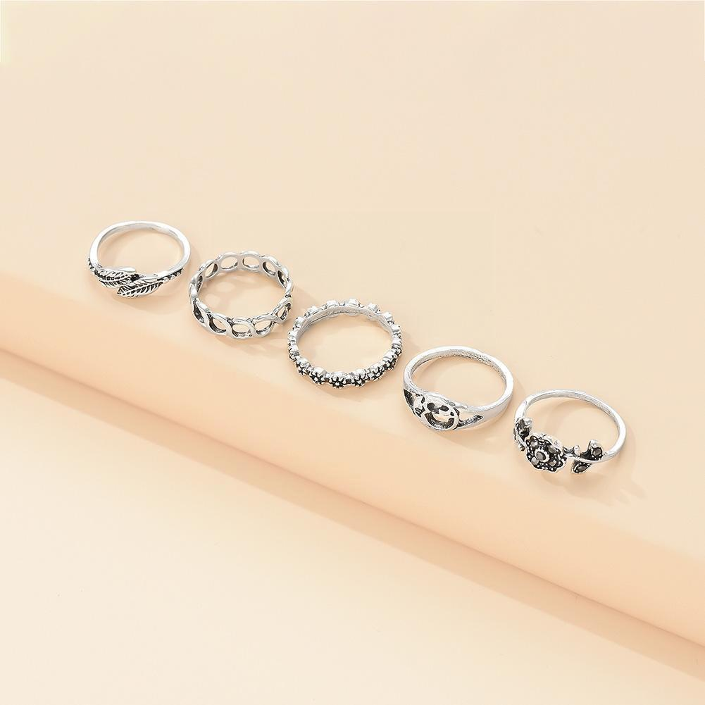 2021 New Fashion Bohemia Geometric Vintage Silver Color Rings Sets Ladies Drop Anillos Ring Shipping For Women Jewelry D8N1
