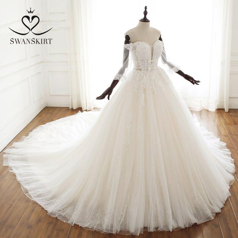 Vestido De boda con cuentas De lujo Swanskirt A251 apliques De manga larga arco tul princesa Vestido De novia IZ01