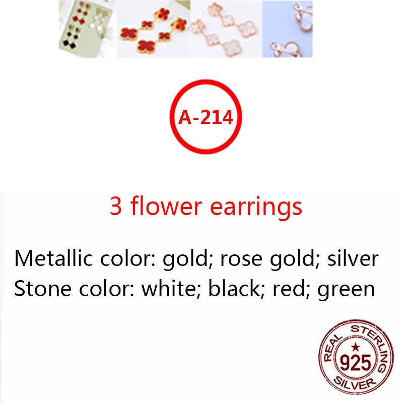 A214 S925 فضة أقراط بسيطة شخصية الاسلوب المناسب هيبوالرجينيك ثلاثة زهرة أربع أوراق البرسيم شكل هدية