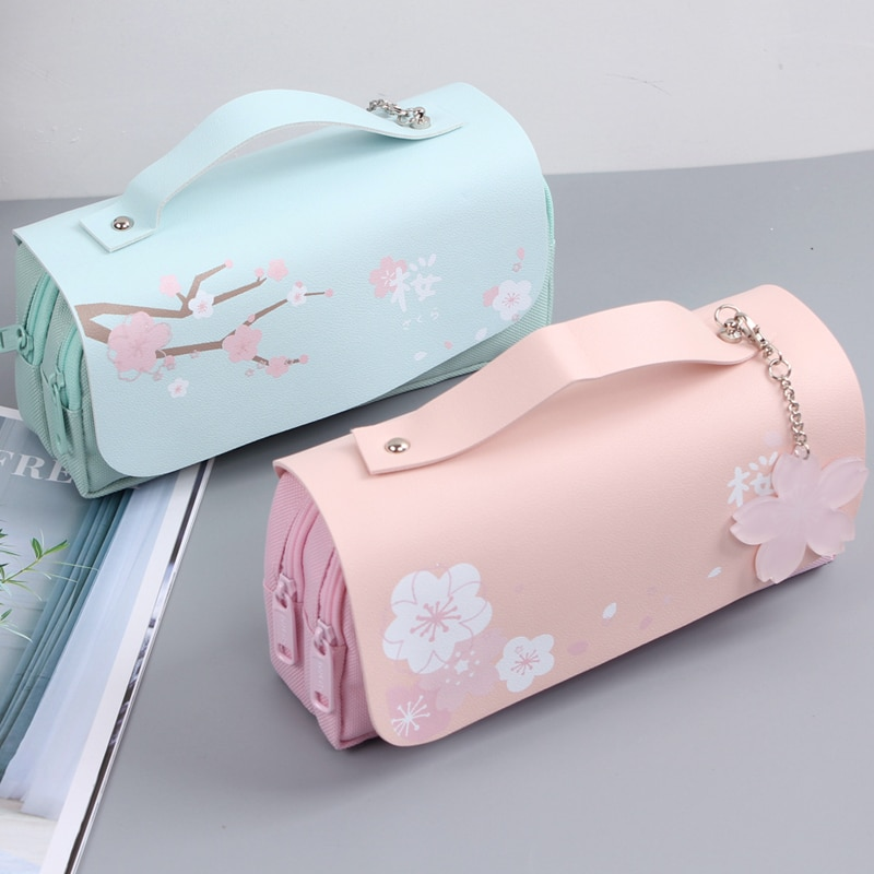 Korea Cherry blossoms PU Leather Student Pencil Case Double Zipper Large Capacity School Handy Female Bag Stationery Pencil Bag