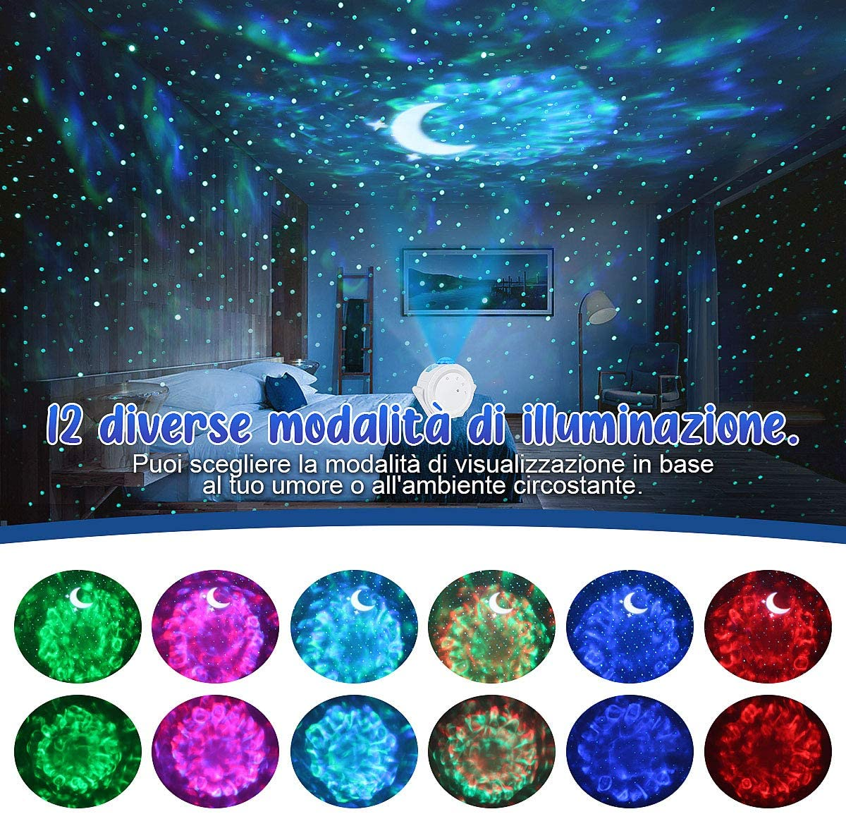 Star Sky Projector Night Light Projection 6 Colors Ocean Waving Lights 360 Degree Rotation Night Lighting Lamp for Kids Gift enlarge
