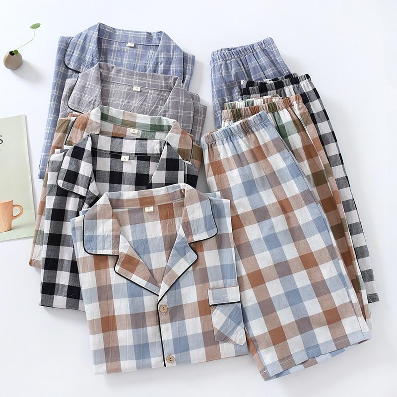 Couple Cotton Pajamas Set Summer Short Sleeve Plaid 2pcs Shirt&shorts Men Loose Casual Loungewear Elastic Waist Home Clothes