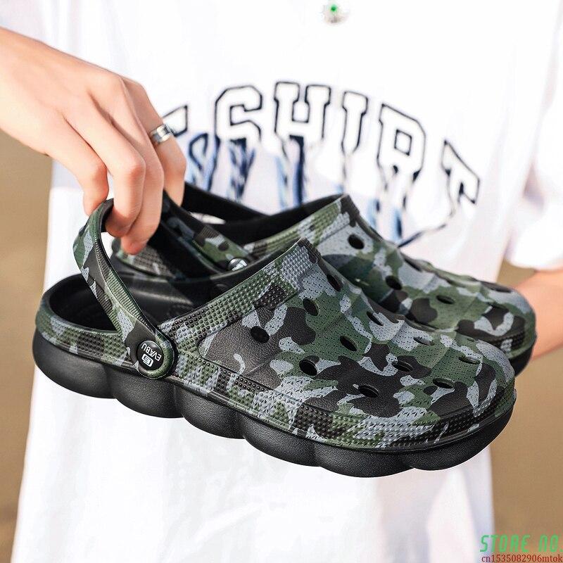Sandálias de Verão Deslizamento em Flip Homens Chinelos Sapatos Croc Moda Praia Sandálias Casuais Unissex Plana Flops 2021 Feminino Ocos