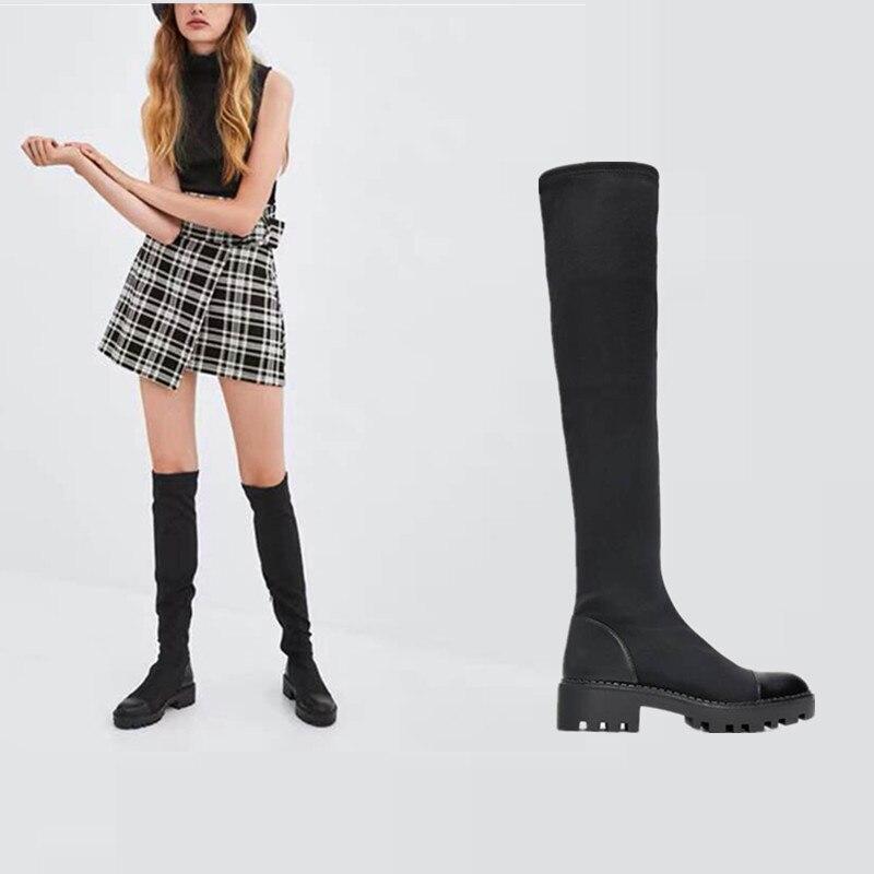 2020 تمتد ليكرا حذاء برقبة للركبة منصة الشتاء أحذية النساء أحذية الشتاء طويلة النساء جورب الأحذية فوق الركبة الأحذية حجم 42 43
