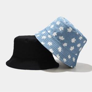 Maple leaves Summer Two Side Reversible Bucket Hat Print Denim cap Men woman Panama Bucket cap rose flower