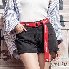 Ceintures en toile pour femmes Punk lettre   Longue, douce, ceinture, pantalon, jean, noir et rouge, boucle en forme de D