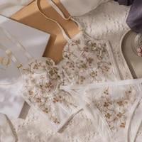 new womens underwear embroidered lace flower underwear sexy body shaper push bra set romantic white underwear bra and panty set