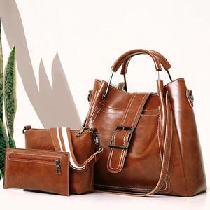 3pcs/Set Women Composite Bag PU Leather Shoulder Messenger Bag Tote Bag Bolsa High Quality Ladies Handbag Female set bag