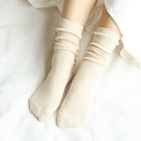 high school girls high socks loose solid colors double needles knitting cotton long socks women cute socks
