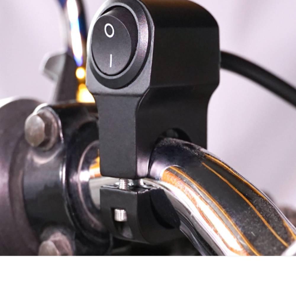 Manillar de 2 cables de aleación de aluminio para motocicleta, interruptor de encendido/apagado, interruptor de luz impermeable para manillar de motocicleta, accesorios