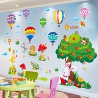 turtle rabbit trees animals wall stickers diy hot air balloons wall decals for kids rooms baby bedroom nursery home decoration