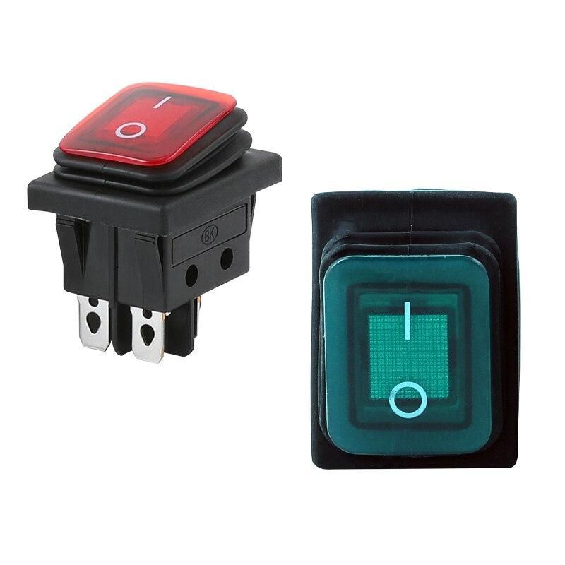 Interruptor basculante a prueba de agua apagado 2 posiciones 4 pines equipo eléctrico botón Mini interruptor 16A 250V 20A 125V AC KCD1