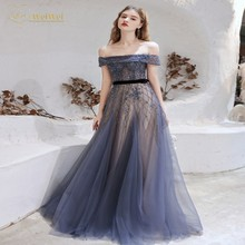 Luxury Boat Neck Evening Gowns A-Line  Off The Shoulder Sleeveless Floor Length Zipper Crystals Bead