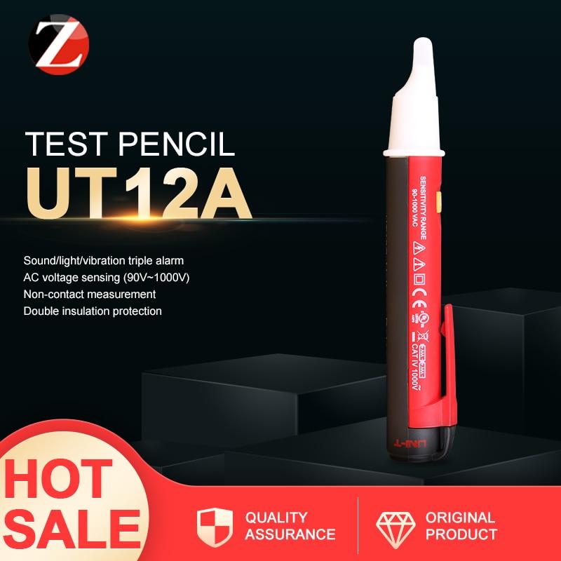 No-en contacto con detectores de voltaje AC UNI-T UT12A UT12D luz led para destellear Indicador de tensión de la pluma probador
