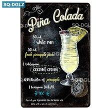 [SQ-DGLZ]Pina Colada métal signe Vintage métal Plaque plaques décor pour Pub Bar maison mur décor étain signes Tiki affiche cadeau