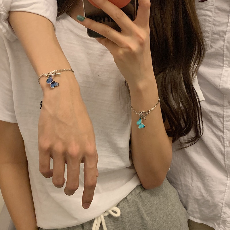 [Peach Tea] Butterfly Couple Bracelet Ins Special-Interest Design Female Student Girlfriends Messeng