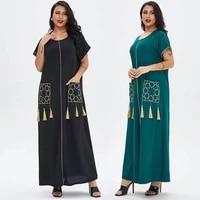 womens clothing 2021 summer new style ladies short sleeved long skirt muslim dubai simple design comfortable dress we33