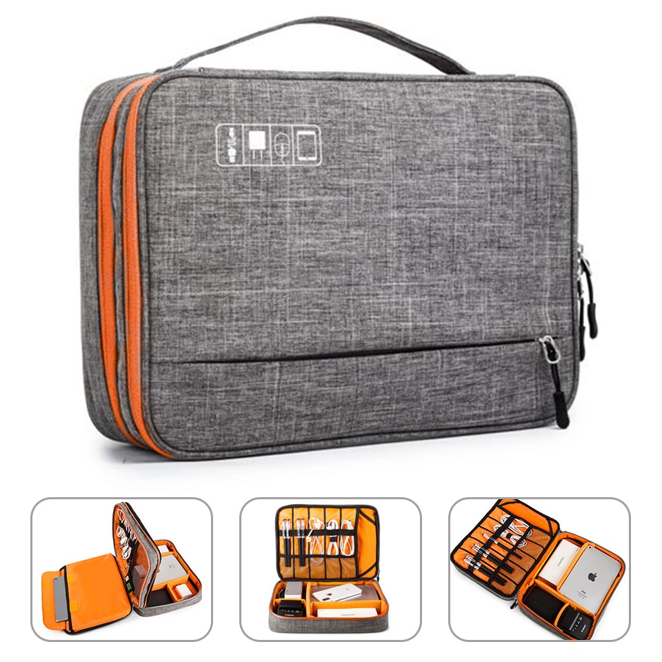 Double Layer Electronic Accessories Storage Bag Separate Room&Detach Strips Portable Organizer Case