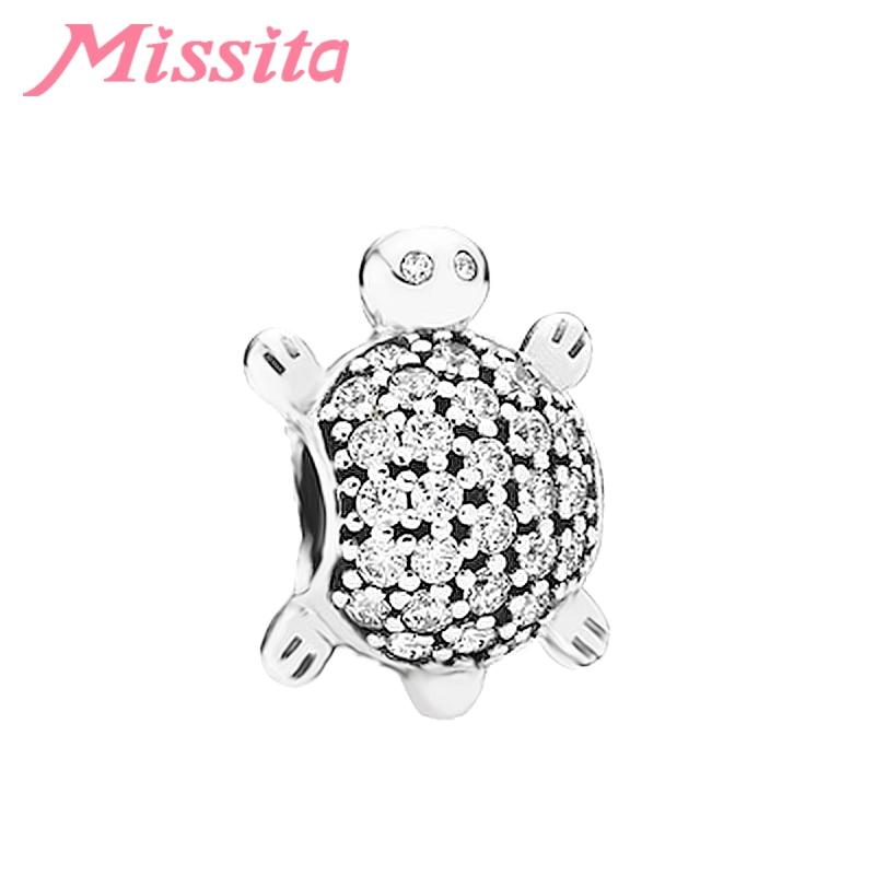 MISSITA Crystal Sea Turtle Charms Beads fit Pandora Original Charm Bracelet DIY Jewelry Making Women Bangle Accessories Gift