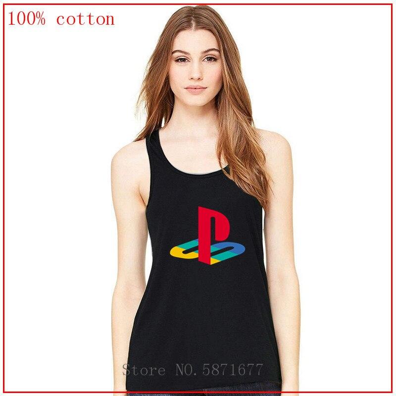 Playstation logo color Chaleco de las señoras tanque tops camisas de las mujeres de verano de mujeres, camisas de las mujeres verano tops omighty superior