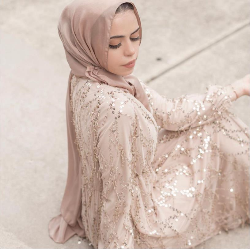 Vestido completo Abaya Hijab de lentejuelas musulmanas de lujo Vestidos Cardigan Kimono...