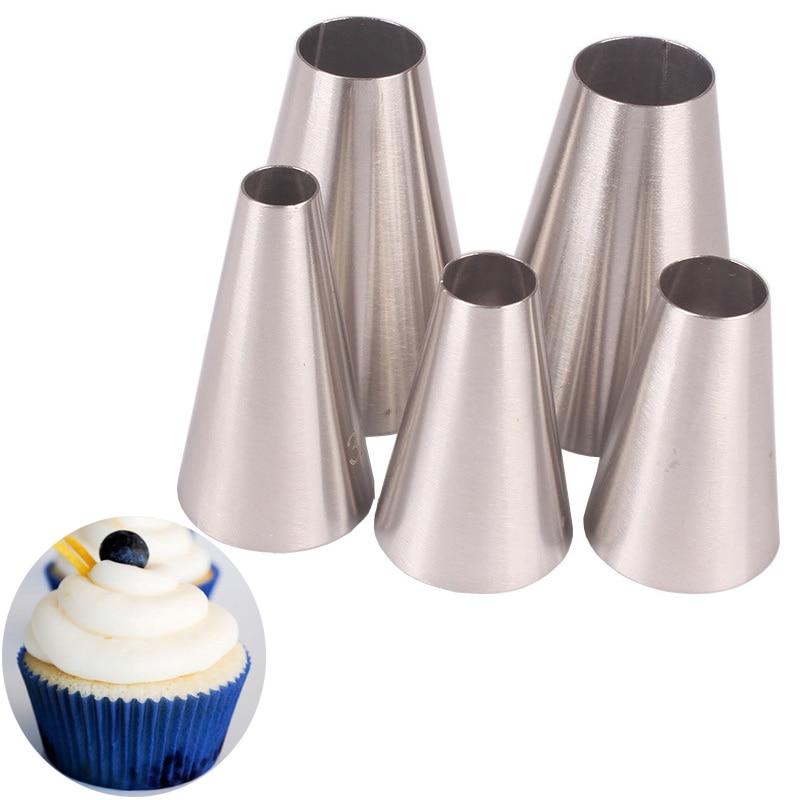 5 uds Galleta de macarrón boquillas de pastelería galletas cupcakes glaseado pipas juegos DIY herramientas de decoración de pasteles tubos de acero inoxidable pastelería